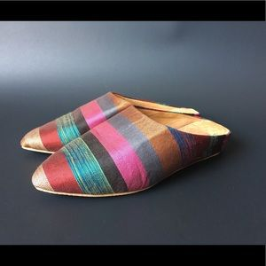 Shoes - Vintage Multi Colored Moroccan Babouche Slides